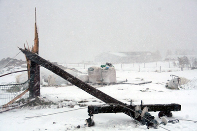 This power poles split like match during a storm in February 2012.